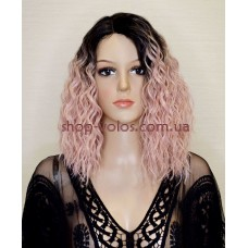 Парик на сетке Lace Wig бледно-розовый каре EUE тон 4-PINK омбре