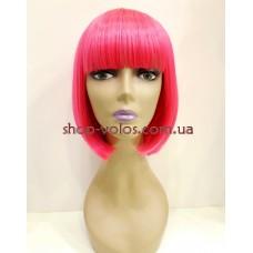 Парик ярко-розовый каре 17101 тон Hot Pink с имитацией кожи