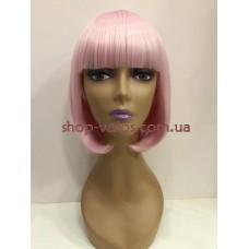 Парик светло-розовый каре 17101 тон Light Pink с имитацией кожи