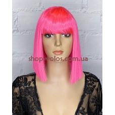 Парик ярко-розовый каре LILY тон Bright Red с имитацией кожи