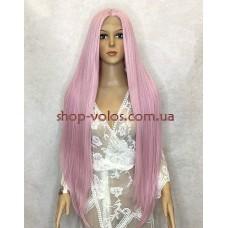 Перука на сітці рожева довга Lace Wig Super Straight тон Pink термостійка
