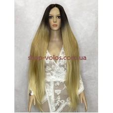 Перука на сітці пшенична довга Lace Wig Super Straight тон SOP22613 омбре термостійка