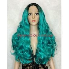 Парик на сетке бирюзовый длинный Lace Wig Magic омбре