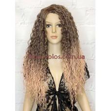 Парик на сетке розово-коричневый длинный Lace Wig POLY тон ROSE GOLD омбре