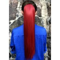 Шиньон прямой № 130M красно-бордовый