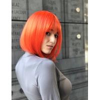 Парик оранжевый каре 17101 тон Orange с имитацией кожи