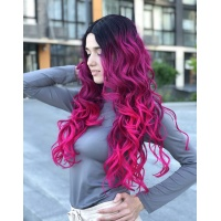 Парик на сетке малиновый длинный Lace Wig Neon омбре