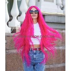 Парик на сетке ярко-розовый длинный Lace Wig Bohemian тон Malina
